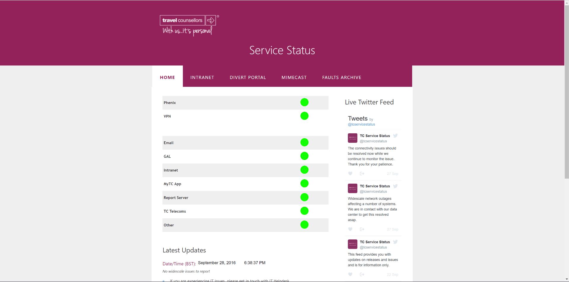 tcservicestatus prospective homepage