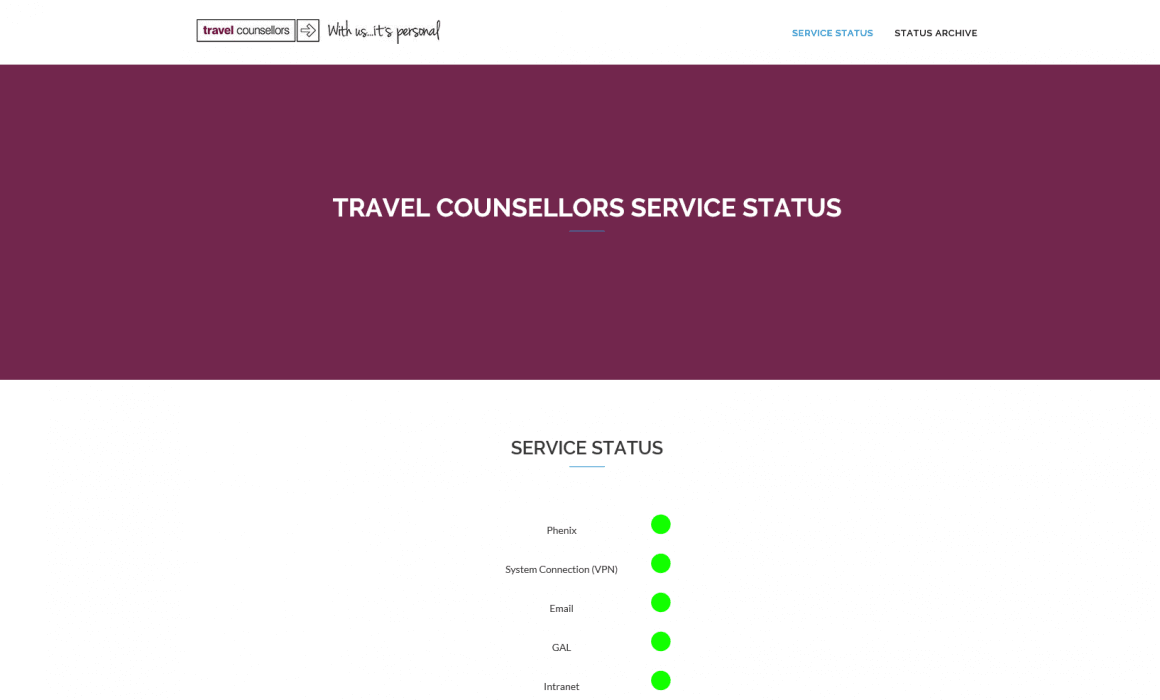 travel counsellors service status homepage screenshot