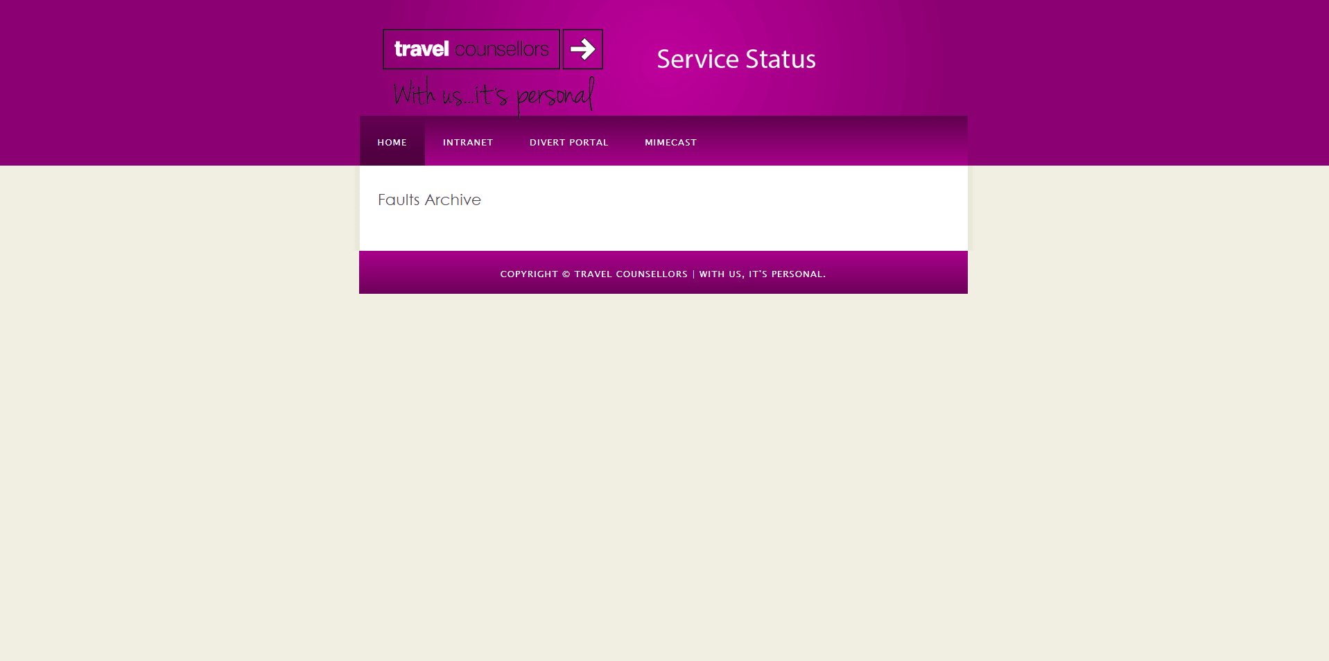 tcservicestatus faults archive first iteration