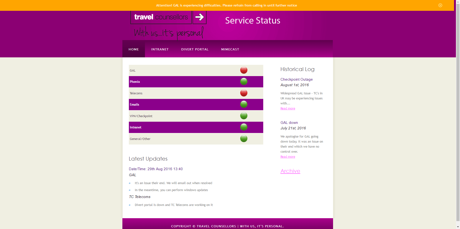 tcservicestatus first iteration