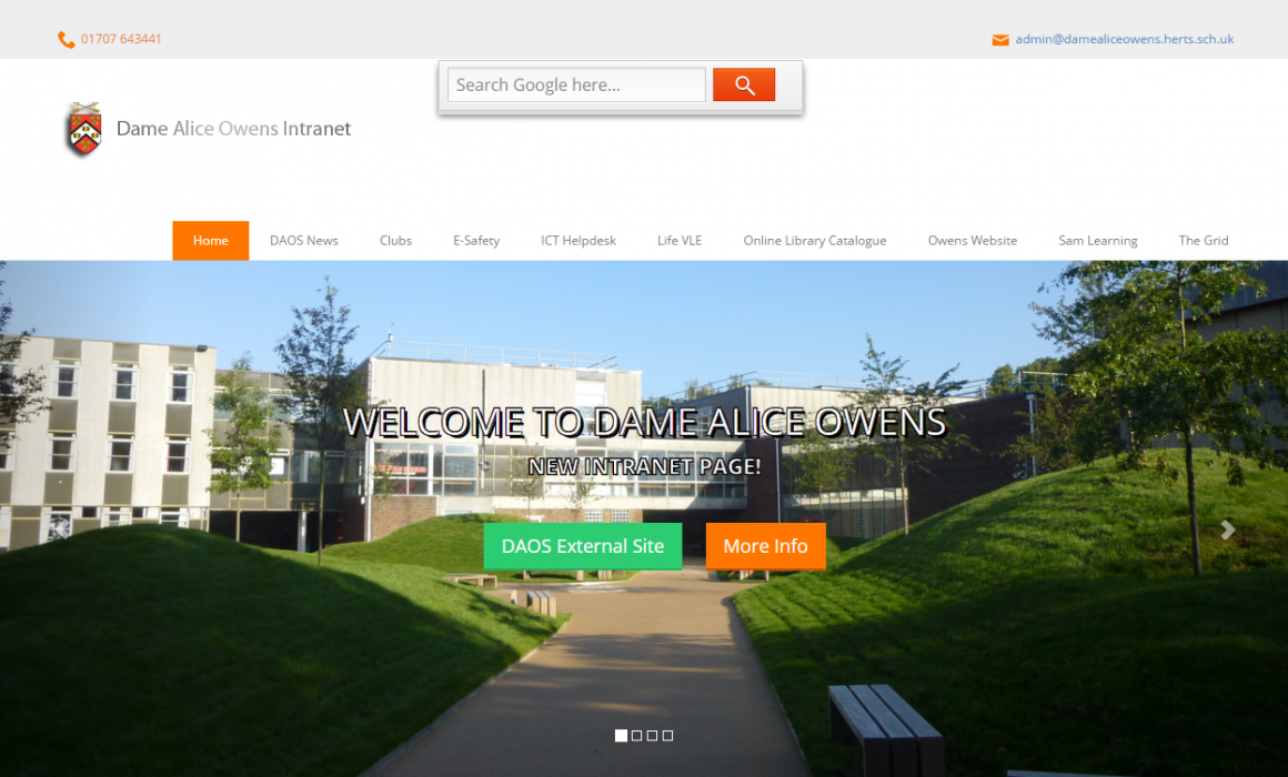 Dame Alice Owens Intranet Landing Page