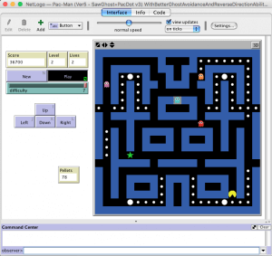 automated pac-man level three in netlogo