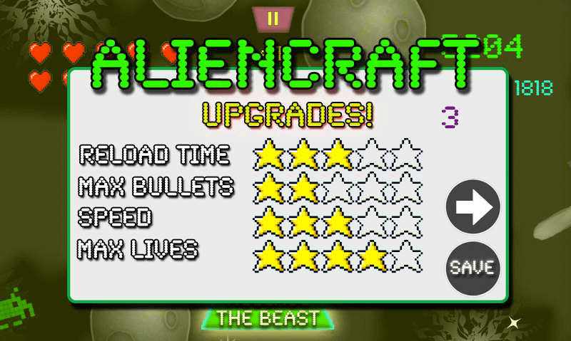 Aliencraft Upgrades Menu