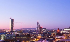 manchester skyline at evening