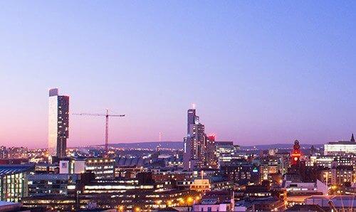 manchester skyline at evening