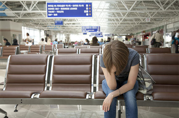 stressed woman in airport