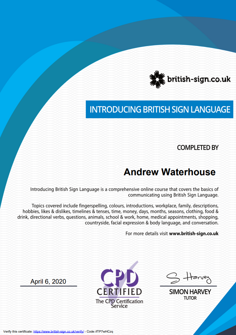 2020 04 06 19 25 57 Certificate Introducing British Sign Language - About Me