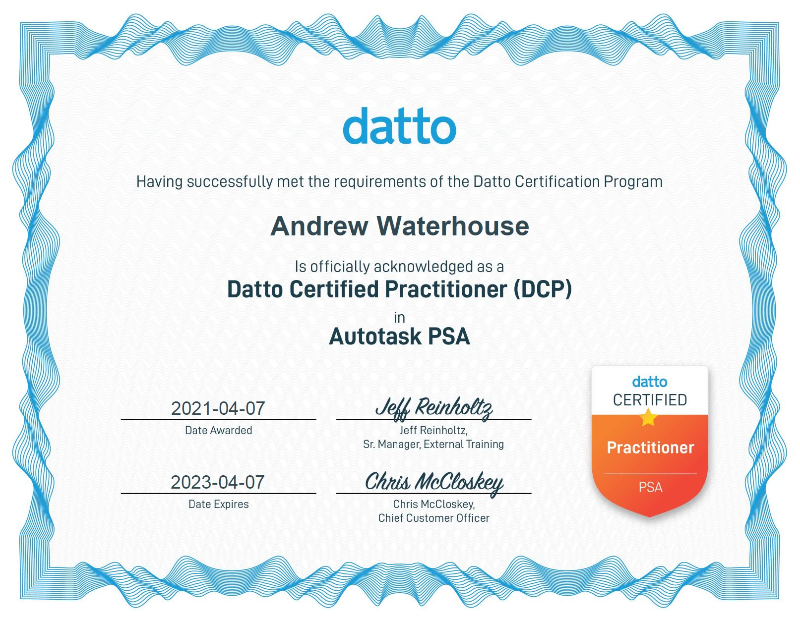 Datto Certified Practitioner screenshot - About Me